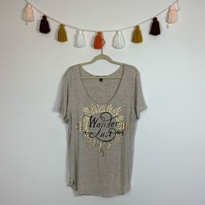 Living Doll Marled Tan Wanderlust Graphic Tee XL